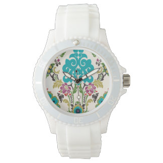 Damask Floral Patterns Plum Turquoise Watch