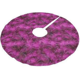 Damask Floral Shimmer Magenta Rose ID461 Brushed Polyester Tree Skirt
