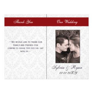 Damask Folding Photo wedding programs Flyer