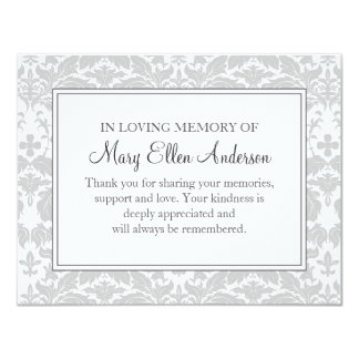 Damask Funeral Note Card Flat Bereavement Note
