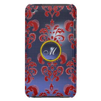 DAMASK GEM MONOGRAM red purple dark iPod Case-Mate Cases
