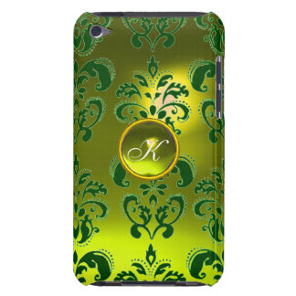 DAMASK GEM MONOGRAM yellow green Barely There iPod Cover
