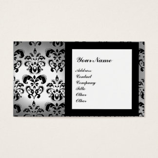 DAMASK GEM STONE MONOGRAM white crystal Business Card