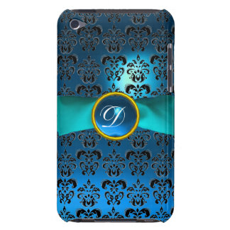 DAMASK GIRLY MONOGRAM  blue ribbon Barely There iPod Cases