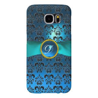 DAMASK GIRLY MONOGRAM  blue ribbon Samsung Galaxy S6 Cases