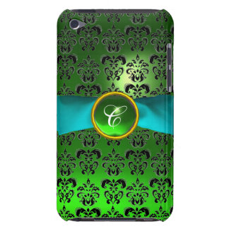 DAMASK GIRLY MONOGRAM green aqua blue ribbon Barely There iPod Covers