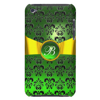 DAMASK GIRLY MONOGRAM green gold yellow ribbon Barely There iPod Covers