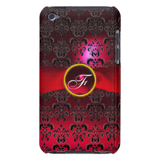DAMASK GIRLY MONOGRAM red burgundy  ribbon Case-Mate iPod Touch Case