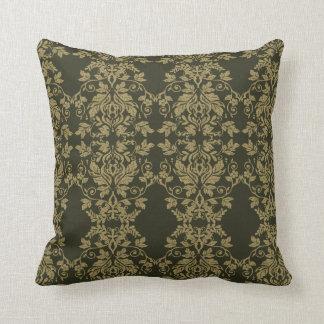 Damask Gold and Dark Olive Decor Cushion