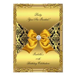 Damask Gold Bronze Diamond Black Birthday Party 2 4.5x6.25 Paper Invitation Card