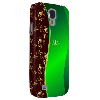 Damask gold  faux glitter pattern on brown wave galaxy s4 case