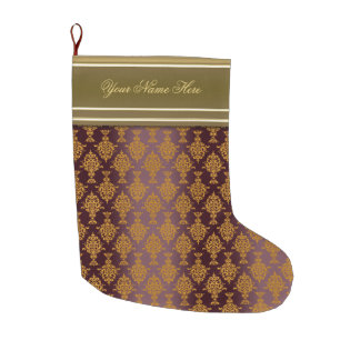 Damask Gold on Burgundy Victorian Large Christmas Stocking