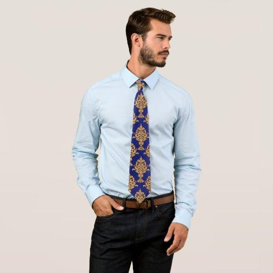 Damask Gold on Royal Blue Tie