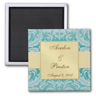 Damask Gold Ribbon Teal Save The Date Magnet