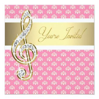 "Damask Gold Treble Clef Concert 5.25"" Square Invitation Card"
