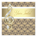 Damask Gold Treble Clef Concert Invitations