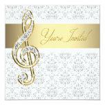 Damask Gold Treble Clef Music Recital Invitations 13cm X 13cm Square Invitation Card