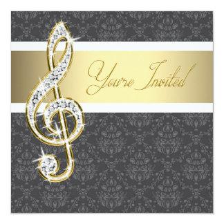 """Damask Gold Treble Clef Recital Invitations 5.25"""" Square Invitation Card"""