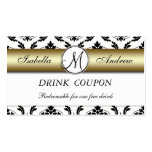 Damask Gold Wedding Free Drink Coupon Card Pack Of Standard Business Cards