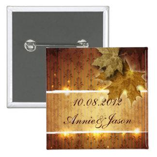 Damask Golden Leaves glamorous Fall Wedding 15 Cm Square Badge