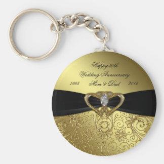 Damask Golden Wedding Anniversary Key Chain