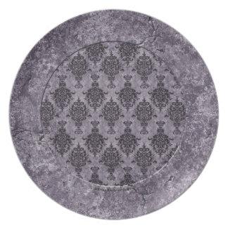 Damask Gothic Black on Purple Stone Border Plate