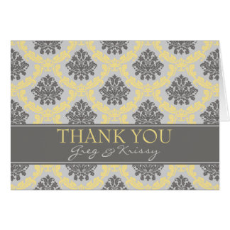 Damask Gray Taupe and Buttercream Thank You Cards