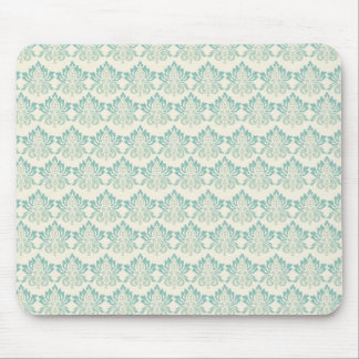Damask Green Cream Mouse Mat