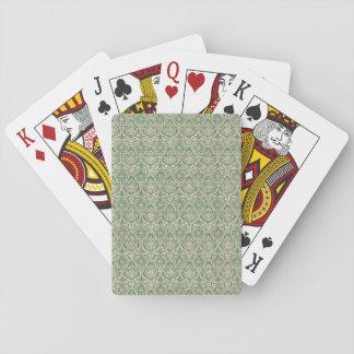 Damask Green Pattern Playing Cards