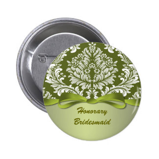 Damask green Wedding Honorary Bridesmaid 6 Cm Round Badge