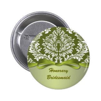 Damask green Wedding Honorary Bridesmaid 6 Cm Round Badge