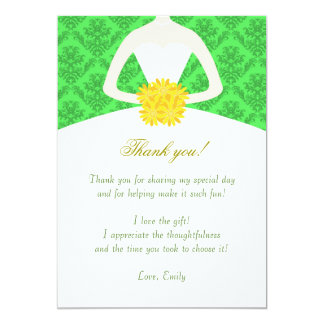 Damask Green Yellow Dress Thank You Card Note 13 Cm X 18 Cm Invitation Card