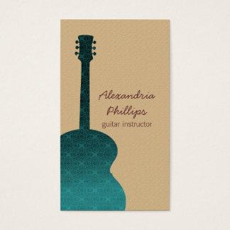 Damask Guitar Music Business Card, Teal