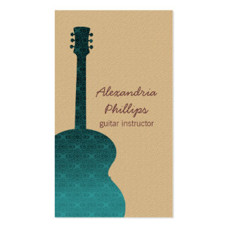 Damask Guitar Music Business Card, Teal Pack Of Standard Business Cards