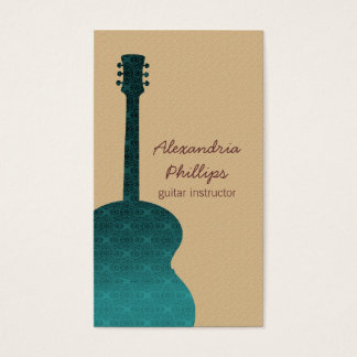 Damask Guitar Music Business Card, Teal Business Card