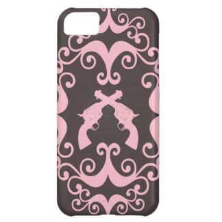 Damask guns grunge western pink goth pattern case for iPhone 5C