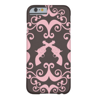 Damask guns grunge western pink goth pattern barely there iPhone 6 case