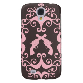 Damask guns grunge western pink goth pattern galaxy s4 case