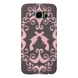 Damask guns grunge western pink goth pattern samsung galaxy s6 cases