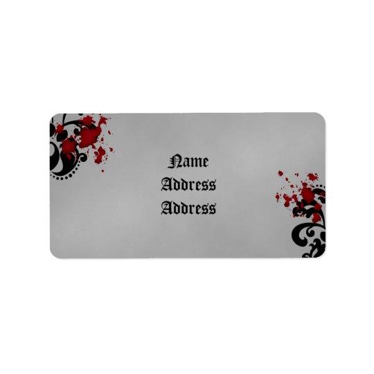 Damask Halloween wedding Label