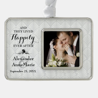 Damask Happily Ever After Wedding Photo Silver Plated Framed Ornament