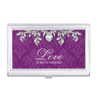 Damask Heart Diamond Cool Jewelry Bling Business Card Holder