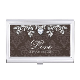 Damask Heart Diamond Cool Jewelry Bling Business Card Holders