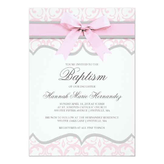 Damask Heart Pink Ribbon Baptism Invitation