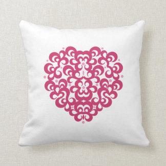 Damask Heart Throw Pillow Throw Cushion