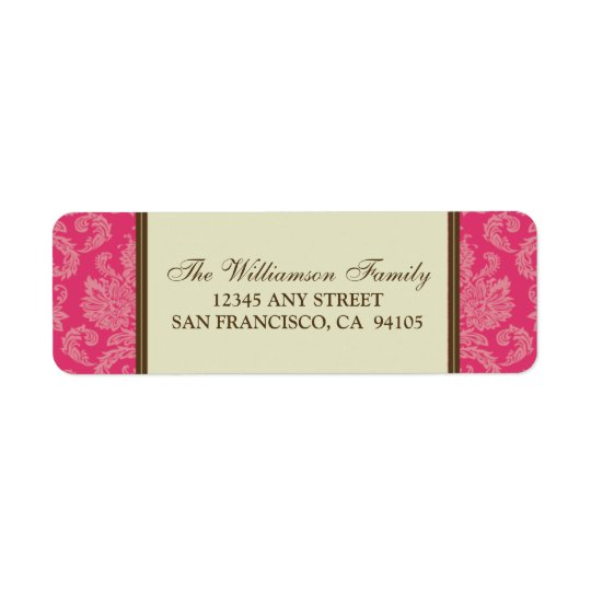 Damask Holiday Return Address Labels (fuchsia)
