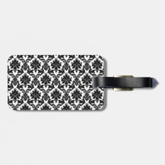 Damask home decor luggage tag