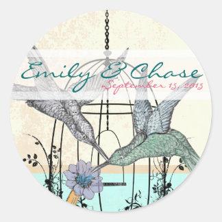 Damask Hummingbird  Birdcage Wedding Postage Classic Round Sticker