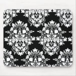 damask in Black & white Mouse Pad