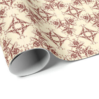 Damask in Maroon on Cream Wrapping Paper